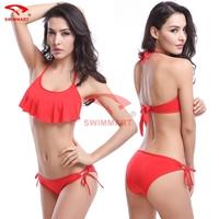 Fashion Designer  Flounce Top  Halters Mature Women Sexy Bikinis 11 Colors