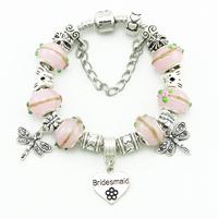 Fashion Women Vintage Style  Silver Bracelets & Bangles Beautiful Dragonfly Glass Bead Bracelets DIY Handmade Accessories