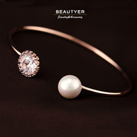 Antique Rose Gold / Platinum Plated Pearl Round AAA+ Cubic Zircon Women Torque Bangle Open Toe Jewelry Accessories BSL34
