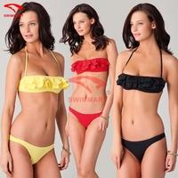 3 colors Fashion Designer Swim Clothing Flounced Bandeau Top Removable neck Halter Women Bikini Set