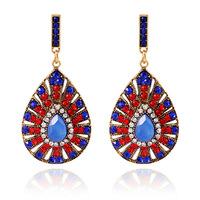 Fashion luxury vintage crystal Drop earrings European style drop-shaped blue crystal channel earring for women jewelry ER-022493