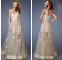 Hot Sale Champagne Sweetheart Long See Through A Line Formal Party Gowns New Vestido De Festa Longo Lace Prom Dress 2015