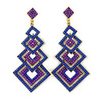 Fashion vintage crystal Drop earrings bohemian European style Square shaped purple long drop earring for women jewelry ER-010430
