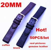 Wholesale 50PCS/lots High quality 20MM 100% genuine leather Watch strap watch bands -020805