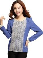 xxxxl Plus Size Women Spring 2015 Elegant Neckline Beading Laciness Slim ladies Tops Blusas QYN 3393 Free Shipping Blue / Black