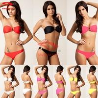 Top Quality Fashion Designer Hot Wholesale Bandeau Top U Ringed Removable Push up padding Sexy Bikini swimwear