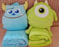 Plush 1 set 100*75cm cartoon Monster university sleep rest coral fleece air conditioning baby blanket + cushion gift stuffed toy