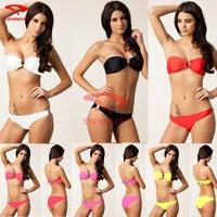 2015 Fashion Designer Bandeau Top U Ringed Removable Push up Vintage Beach Bikini Swimsuit 6 Colors