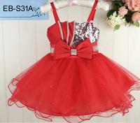 Top Quality Dress Baby Summer Sleeveless Shoulder Strap Flower Girl Dress Fashion Sequin Yarn Kid' Dance Dresses