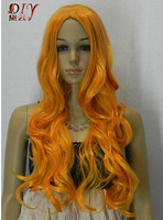 $wholesale_jewelry_wig$ free shipping Women Gold Yellow Wavy Long Cosplay Hair Full Wig Japan Kanelaon Silk