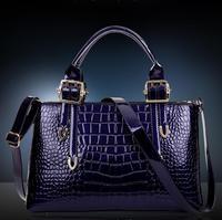 HOT!!2015 The new tide of han edition paint brand luxury handbags handbags PU the crocodile grain leather handbag  W157