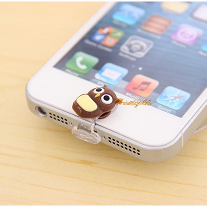 Cute Owl Cartoon Shape Dustproof USB Port Plug Phone Home Button Cap For iPhone 5G 5S 5G(China (Mainland))
