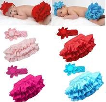 Girl Baby Ruffle Pants Skirt+Headband Bloomers Nappy Cover tutu skirt jupe acessorios saia infantis faldas infant tutu  (China (Mainland))