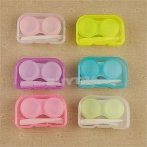 2015 New Arrival Mini Easy Carrying Eyewear Cases Plastic Contact Lens Holder Random Color(China (Mainland))