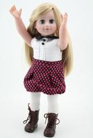 Baby Play Dolls 18 inch Fashion Vinyl  Girl Toy For Kids Blond  Hair Wig Green Eyes