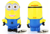 454pcs/lot Little yellow man piggy bank , funny lovely money box high qulity plastic cartoon minions piggy bank