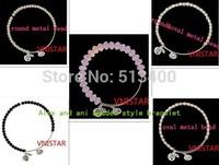 1lot =5pcs mixed Vnistar alex and ani glass&metal beaded bracelet  with three alex charms VABB002