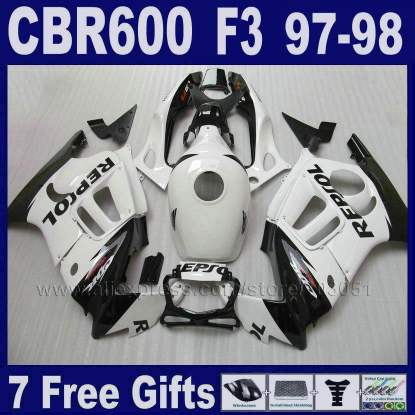 fairing kits white ABS plastic for Honda CBR600F3 1997 1998 97 98 7gifts customize free motobike fairings black Tank cover(China (Mainland))