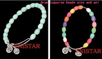6pcs/lot(3pcs/color) Vnistar mixed alex and ani drum tuquoise beaded bracelet with three alex charms VABB003