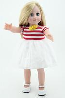 Baby Play Toy 18 inch Cloth Body Girl Doll  Blond  Hair Wig Green Eyes