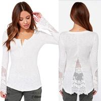 2015 Fashion Women Solid White Slim Sexy Lace Blusas Ladies New Long Sleeve Blouse Tops Femininas Plus Size  YT1420