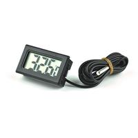 Indoor Outdoor Black LCD Digital Thermometer Temperature Meter + Probe Sense Cable 1M for Aquarium Freezer Fish Tank