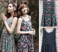 Women Dress 2015 New Cotton Drawstring Floral Women Summer Dress Bottoming Vest Dresses Sleeveless Ball Gown Female Clothing