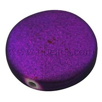 Colorful Acrylic Beads, Rubberized Style, Flat Round, Indigo, Size: about 25mm in diameter, 7mm thick, hole: 2mm
