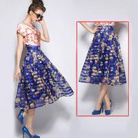 Women Vintage Hepburn Style Blue Floral Prints Organza Pleated Ball Gown 2015 New  Below-Knee Midi Swing Skirt saias femininas