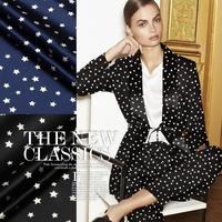 2015 Fashion Star Printed Stretch Silk(93%) Satin Fabric 19Mommie  118CM*100CM  Black / Dark blue