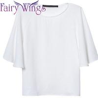 2015 Women Blouses Chiffon Loose Butterfly Sleeve Spring Summer Shirt Blusas Femininas Casual Loose O Neck Shirt Tops PH3020