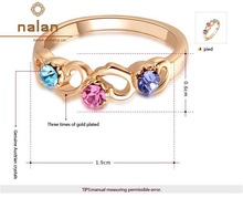 wholesale Austrian crystal rose gold color three artificial diamond ring R2010267180