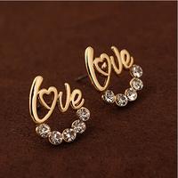 Fair maiden temperament Ear Studs Crystal Stud earrings Golden letters LOVE Earrings jewelry Free shipping