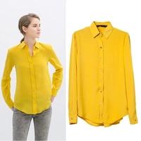 2015 spring fashion chiffon solid color turn-down collar slim fashion long-sleeve shirt women's top shirt15020903