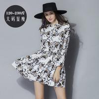 XL-5XL Vestidos Plus Size Long sleeve Cotton Designer Print Casual Dresses 2015 Spring Fat Women Big Size Clothing XXXL 3 Colors