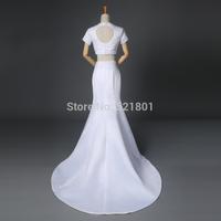 pearls plus size white wedding dress new 2015 vestido de noiva sexy mermaid wedding dresses vestidos de noiva real photo gowns