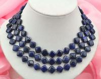 """50"""" 11x11mm square blue lapis lazuli necklace"""