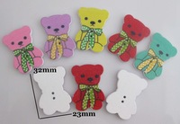 WB0311 Baby buttons bear 100pcs/lot 23mm*32mm cartoon button wood children clothes accessories