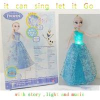 2015  Snow Adventure Series Dolls Q version Anna Elsa Princess Action Figures Child Classic baby Toys 32cm Can Sing Let It Go