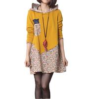 Korean Version Women Dress 2015 Spring Floral Patchwork Dresses Casual Bottoming Dress Hat Female Clothes Plus Size  M-XXL
