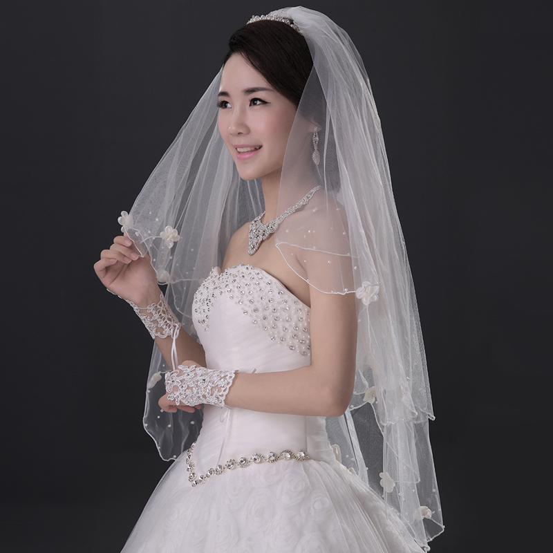 Bride transparent gauze handmade flowers pearl new wedding veil beautiful dream(China (Mainland))