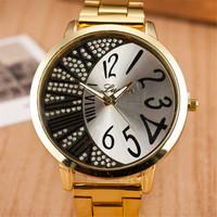 New 2015 Fashion Luxury Ladies Quartz Famous Brand Dress stainless steel Watches Gold Color Rhinestone Case Women Wristwatches
