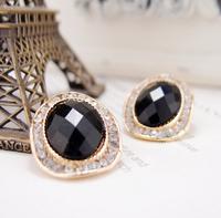 Retro fashion jewelry Ear Studs Crystal shine Stud earrings black Earrings Free shipping