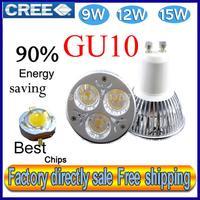 Factory directly sale 1pcs/lot CREE Bulb led bulb GU10 9w 12W 15W 110V 220V Dimmable led Light led lamps spotlight free shipping