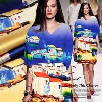 Hot Sale Luxury Village Digital Print Stretch Silk(93%) Satin Fabric For Tailor DIY Summer Dress   118CM*118CM   19Mommie