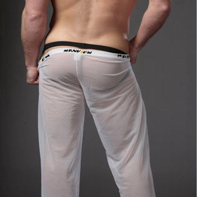 Mens Long Pants Mesh Sexy Sheer Pants Gay Wear Pouch Penis Casual Sleepwear Men Sleep Bottoms 2015 New Arrival Low Waist Design(China (Mainland))