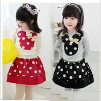 2015 girls spring cotton fashion sets baby girl cartoon t -shirts and dot skirts 2 pcs suits children cute set YF-113