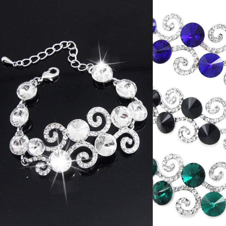 2015 Fashion Luxury Crystal Flower Bracelet for Women Wedding With Big Rhinestone Bracelets & Bangles Jewelry brtj76(China (Mainland))