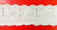Top quality 7cm beige 9088 cotton fabric base cotton hollow-out Christian church cross image embroidery lace trim,XERY0207B