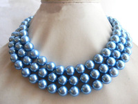 """50"""" 10mm Blue Round Shell Pearl Necklace"""